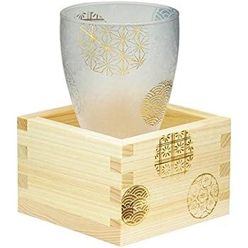 アデリア 枡付き 日本酒グラス 丸紋 100ml プレミアムニッポンテイスト 日本製 6601