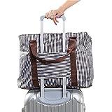 【Cat Hand(キャット ハンド)】2WAY 折り畳み バッグ キャリー スーツケース の持ち手に通せる 旅行 の サブバッグ に 最適 ポップ な ストライプ 水玉 柄 7色展開 (ブラウン/ストライプ柄)