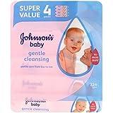 ジョンソンの赤ちゃん優しいクレンジングワイプ - 4×56パックワイプ (Johnson's) (x2) - Johnson's Baby Gentle Cleansing Wipes - 4 x 56 Pack Wipes...