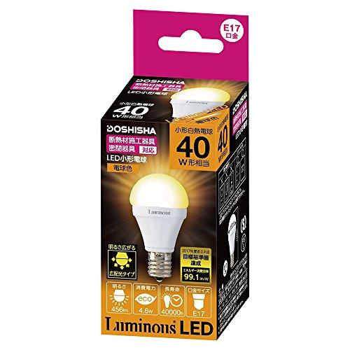 ルミナス LED電球 小型 口金直径17mm 40W 相当 電球色 広配光タイプ 密閉器具・断熱施工...