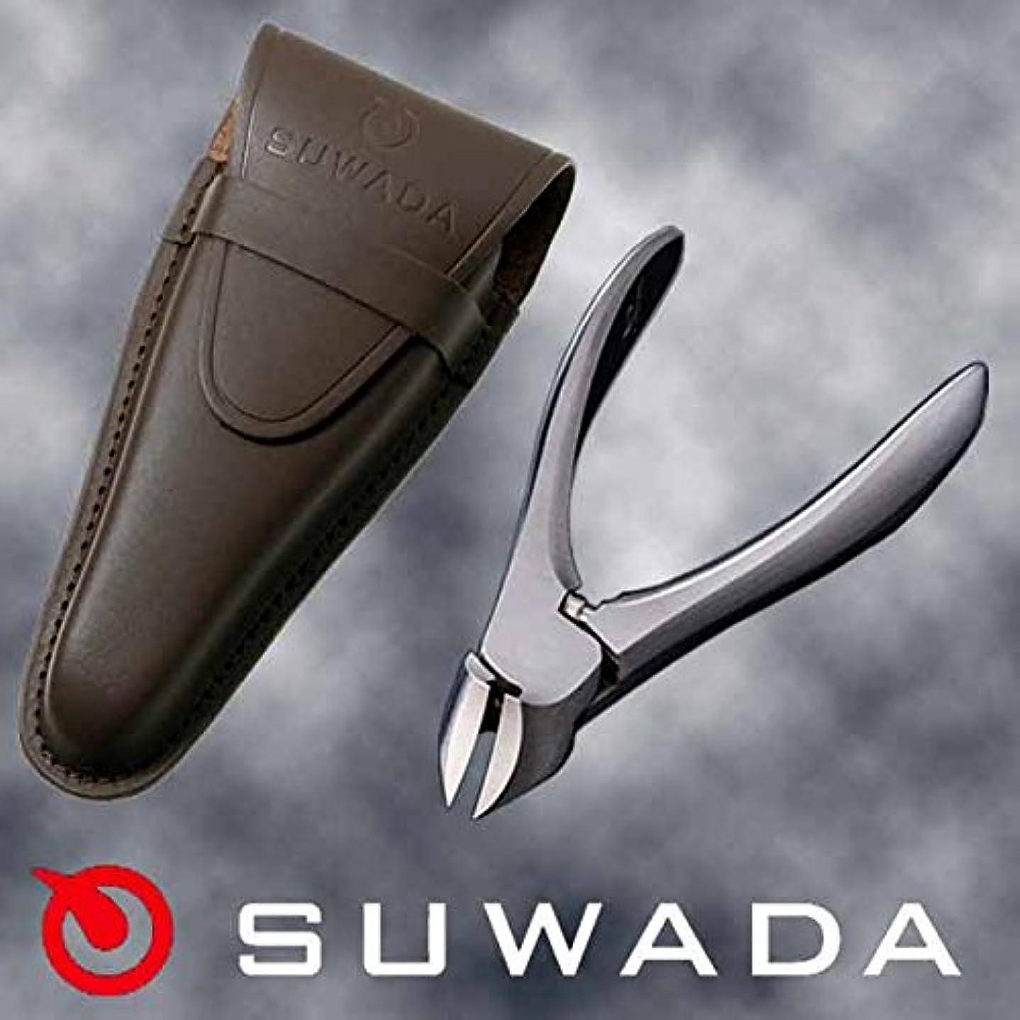 マディソン拡張暗殺するSUWADA爪切りクラシックL&ブラウン(茶)革ケースセット 特注モデル 諏訪田製作所製 スワダの爪切り