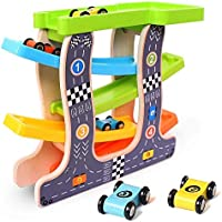 Kingstar 木の スロープ 木のくるま?汽車 滑空車 木製玩具 1歳 2歳 3歳 4歳 スロープトイ