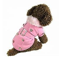 【ノーブランド 品】コットン&ウール製 ペット 犬 猫 冬 厚く 暖かい ウール コート ジャケット 服 アパレル 3色4サイズ選べる - ピンク, XL