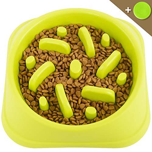 LAXIMI ペット用食器 早食い防止食器 スローフード ゆっくり食べる 過剰給餌防止 肥満解消 犬猫用ボウル 小中型犬用 給餌器 ペット皿 ペットボウル (グリーン)
