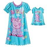 Peppa Nightgown for Girls with人形ガウンパジャマNightshirt カラー: ブルー