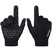 AXYOFSP Winter driving gloves household warm skating ski texting gloves touchscreen Non-slip knit glove