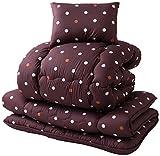 mofua 国産 ふんわり洗える掛布団寝具3点セット(東レ マッシュロン綿使用)ドット ブラウン