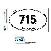 715 - ボールドウィン, WI - ウィスコンシン州 - 楕円形市外局番ステッカー