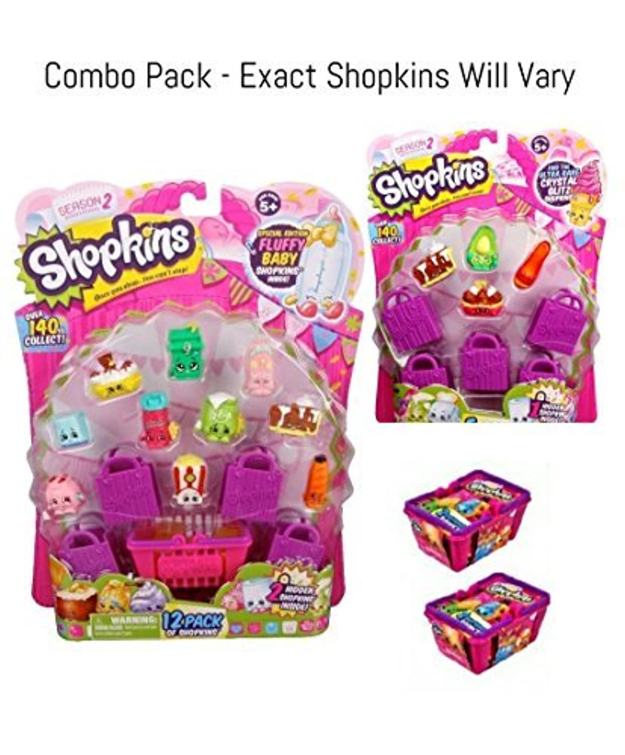 Bundle - 3 Items: Shopkins Season 2 - (1) S2 12 Pack, S2 and (2) S2 Baskets by Moose