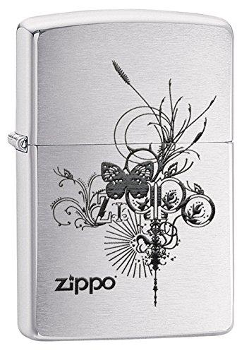 ZIPPO(ジッポー)24800 Butterfly-Artsy Design 蝶/チョウ ブラッシュクローム/つや消し ZIPPO ロゴ FULL SIZE ZIPPO LIGHTER/ジッポライター[並行輸入品]