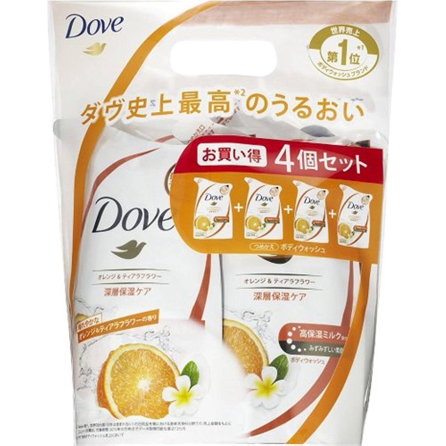 一元化するエラー是正Dove ダヴ ボディウォッシュ オレンジ & ティアラフラワー つめかえ用 360g×4個セット