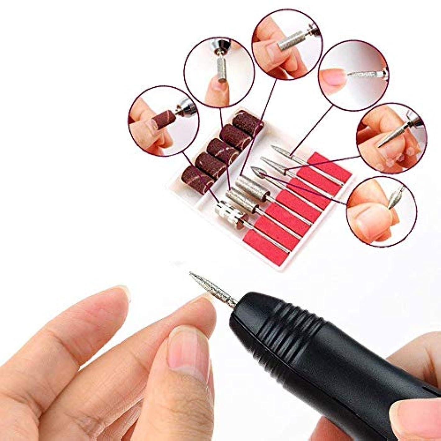 薬剤師関連する真珠のような電気ネイルドリルマシン、キット20000RPM電気は6つの研削ヘッドと釘グラインダーマニキュアネイルアートツールのファイルを設定ネイルファイルドリル