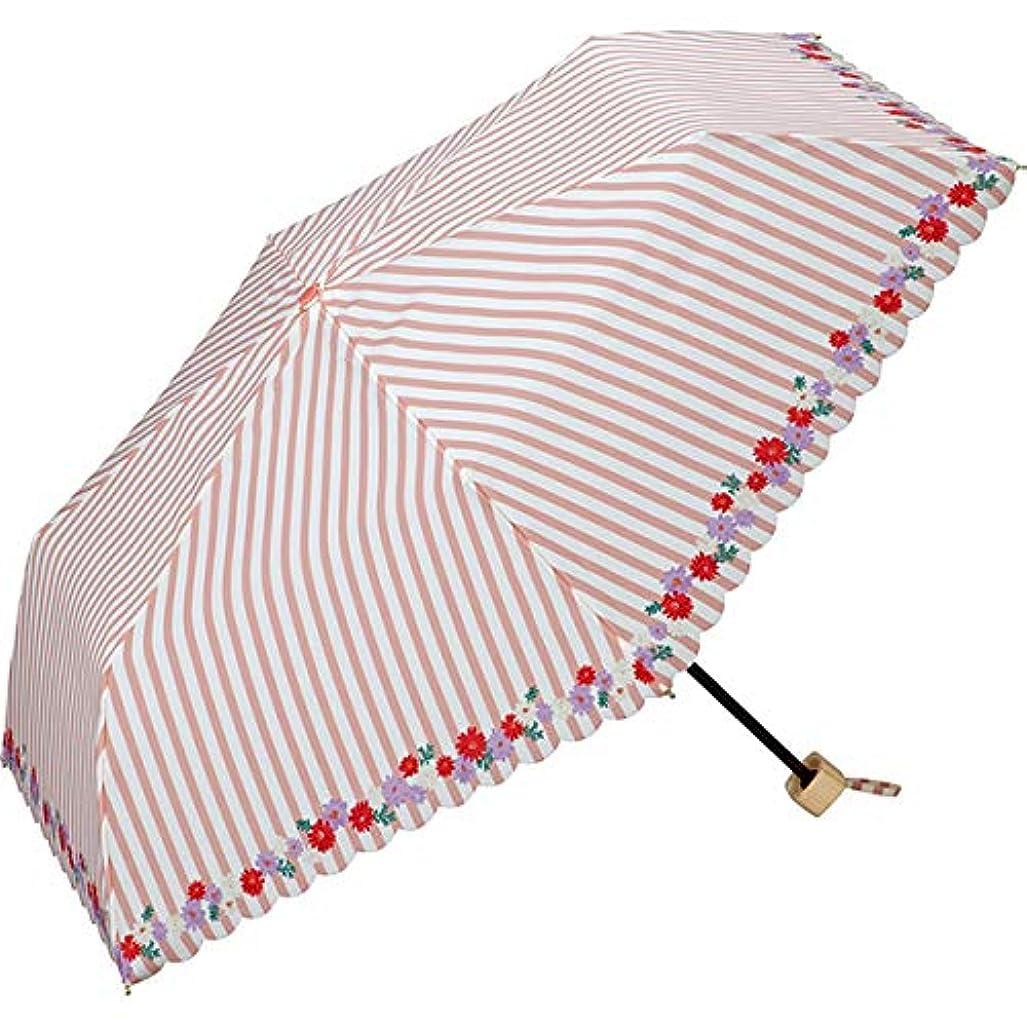 呼び起こす独特の朝ワールドパーティー(Wpc.) 日傘 折りたたみ傘 ピンク 50cm レディース 傘袋付き ストライプフラワーミニ 801-3950 PK