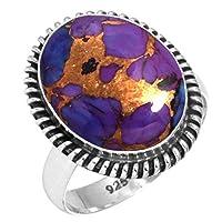 925 スターリング シルバー 銅 紫 ターコイズ 手作り リング サイズ 17