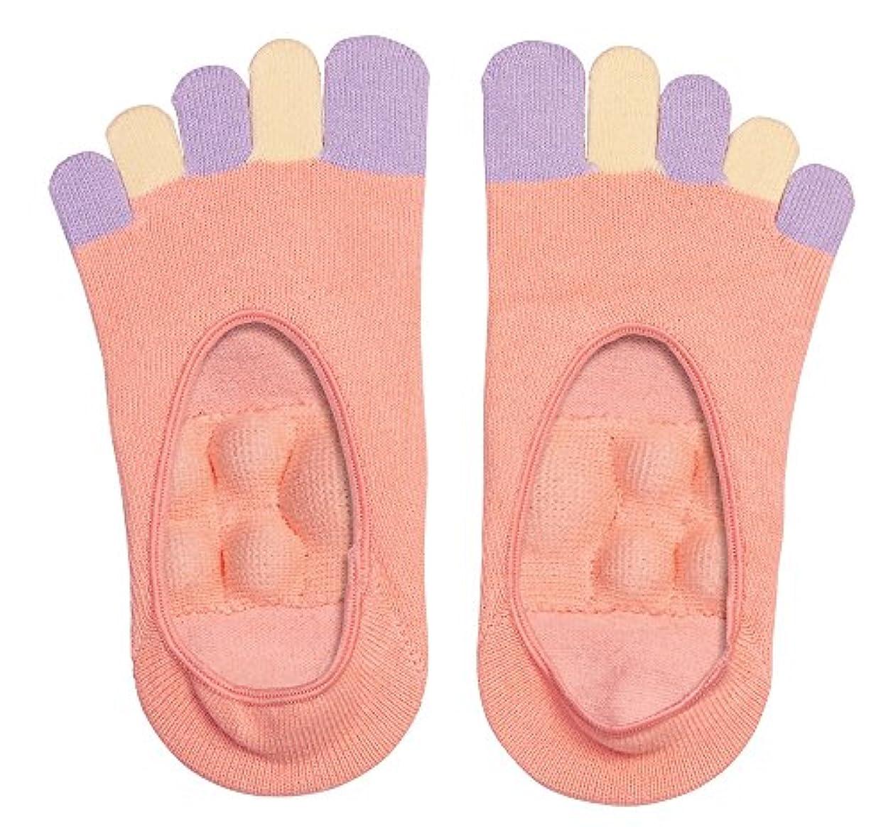 ルー卵緑眠れる森の5本指足裏プッシュソックス ピンク