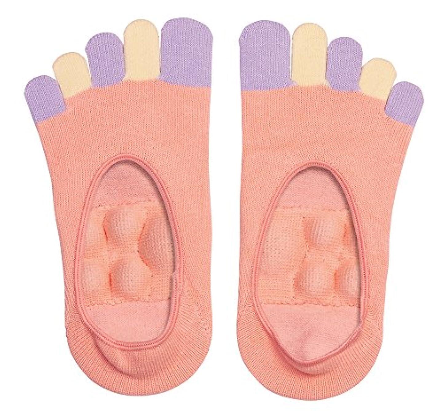 緩める自分新着眠れる森の5本指足裏プッシュソックス ピンク