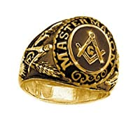 カレッジスタイル ゴールドメッキ ステンレススチール製フリーメイソンリングフリーメイソン団メンバー用のジュエリー。フリーメイソンのシンボルが刻印されたフリーメイソンリング。