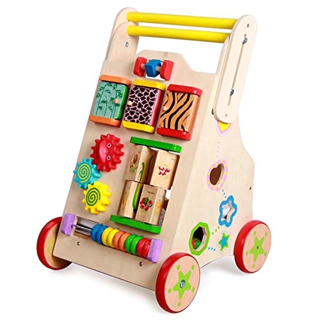のために仕様革新学習歩行器ベビーカー 多機能ベビーウォーカーアンチロールオーバー子供木製カート幼児幼児おもちゃ車2イン1プッシュ&プルおもちゃとして使用 子供のおもちゃ車 (色 : Wood, サイズ : 32.5*34.5*55.5cm)