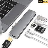 USB C ハブ Macbook Pro 2019 ハブ 4K HDMI出力 USB-C ポート*2 100W PD充電 データ転送 USB3.0ポート*2 SD&Micro SDカードスロット 7in1 Macbook Pro 2019/2018/2017/2016/MacBook Air 2019/2018 に対応