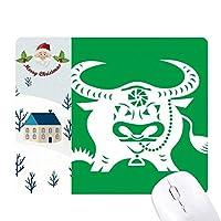 中国の十二宮動物パターン丑の年 サンタクロース家屋ゴムのマウスパッド