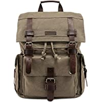 "Kattee Men's Leather Canvas Backpack Large School Bag Travel Rucksack for 17"" Laptop"