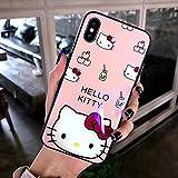 a06cbc503d 真新しい iPhone ケース 強化ガラスカバー ディズニーキャラクター レトロスタンダード Hellokitty 保護カバーブラケット付きiPhone 卡蒂猫カバー (iPhone 6/6s, A)