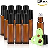 Olilia 10ml Amber Glass Roller Bottles for Essential oils with Metal Ball, Essential Oils Key Tool, 12 Pack
