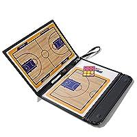 Wiixiong バスケットボールコーチング折りたたみ式磁気戦略ボード、革製クリップボードマーカー付き消しゴムペン付属品