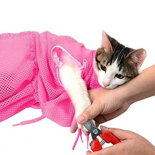 MKUTO 猫用 みのむし袋 おちつくネット シャンプー お風呂 爪切り 耳掃除 グルーミング 暴れない (レッド)