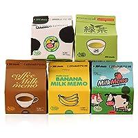 (moin moin) メモ ノート 牛乳パック 型 オモシロ メモ 5個セット (バナナミルク/いちごミルク/コーヒー牛乳/緑茶/牛乳)