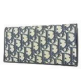 (クリスチャン ディオール) Christian Dior ヴィンテージ トロッター PVC×レザー 二つ折り 長財布 ダークネイビー×グレー 29616eSaM 中古