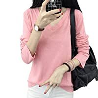 Shop358 レディース 長袖 カジュアルシャツ 胸ポケット 丸首 Vネック シンプル カットソー 春 夏 全7カラー