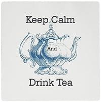 3drose LLC 8x 8x 0.25インチマウスパッド、Keep Calm and Drink Tea withブルー英語ティーポット( MP _ 160307_ 1)