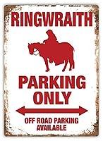 リングレイス駐車場のみ 金属スズヴィンテージ安全標識警告サインディスプレイボードスズサインポスター看板建設現場通りの学校のバーに適した