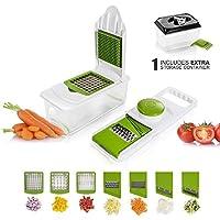 マストームマンドリンスライサー、調整可能な7ステンレススチールブレードキッチンチョッパー&野菜カッター付き