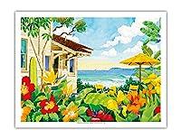 良い生活 - トロピカルビーチハウス - ハワイ - ハワイ諸島 - オリジナルの水彩画からのもの によって作成された ロビン アルトマン - アートポスター - 51cm x 66cm