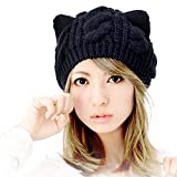 OHP【オーエイチピー】アメリカで ネコ耳 ニット帽 レディース 「カラー:ブラック SIZE:フリーサイズ」