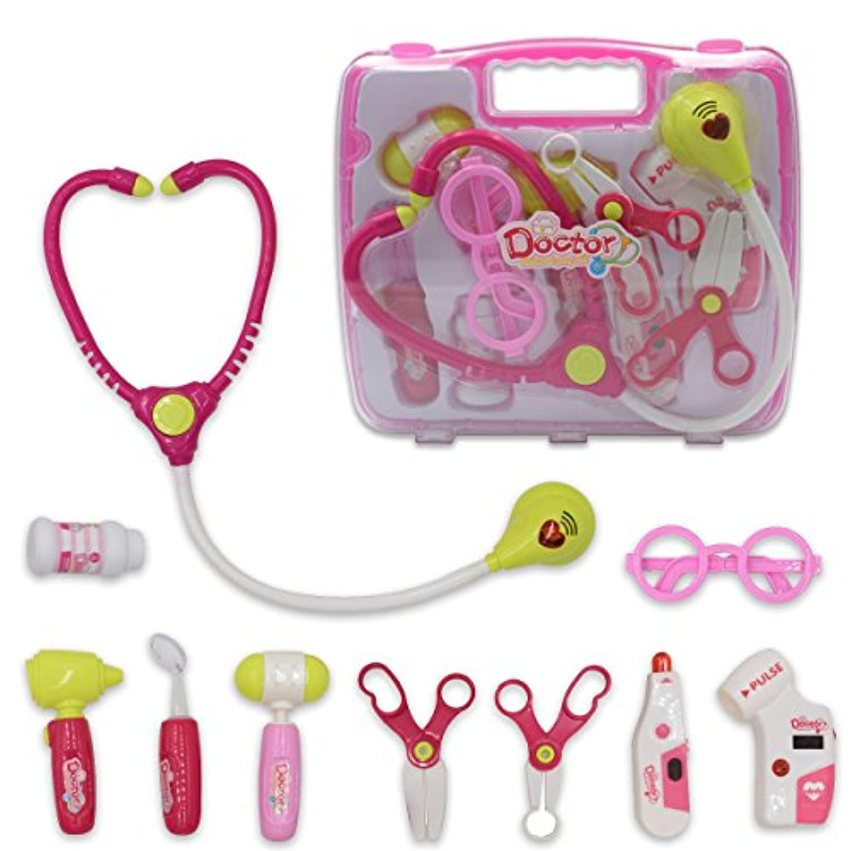 幼児用Doctorキット、seprovider Pretend Play Drキット10個ピンクW / Handy Case for Kids 3 – 14歳、教育医療おもちゃ