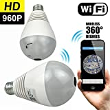 Vanxse CCTV Light Bulb Security Camera, WiFi Ip Wireless Home Surveillance System, Pet Baby Monitor, lamp Cam, 960P HD 360° Fisheye Panoramic Lens with Night Vision Motion Detection Two-Way-Talk