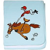 CafePress – Horse Rider – スーパーソフトベビー毛布、新生児おくるみ ブルー 065569854025CD2