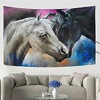 wellleeパステルPortrait Couple Horses壁タペストリー寮Throw Hanging玄関寝室リビングルーム装飾ウィンドウカーテン 60x40(in) g911690p125c139s204