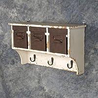 hi-lineギフトyng-003ビンテージ木製3 Selection壁キャビネットwithコートフックとdrawers44 ;ホワイト
