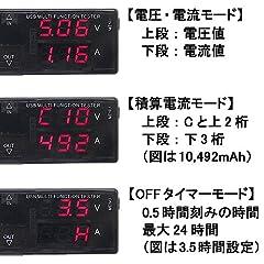 ルートアール QC3.0対応 簡易電圧・電流チェッカー 積算電流・出力OFFタイマー機能内蔵 RT-USBVACT1