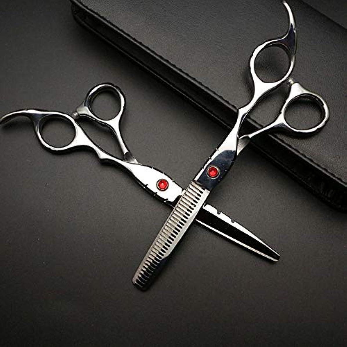 発揮する破裂先のことを考える6インチ美容院プロフェッショナル理髪セット、ハイエンド理髪はさみセット ヘアケア (色 : Silver)
