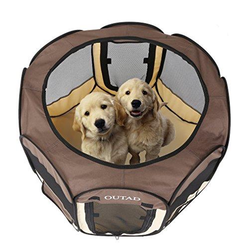 ペットサークル OUTAD 折りたたみペットサークル メッシュ屋根付き 八角形 組み立てが簡単 屋内/屋外適用 犬 猫兼用 多頭飼い (S)