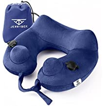 Jerrybox Travel Neck Pillow Fastest Inflatable Pillow with 2 Airbags, Soft Neck Support Pillow for Airplanes with Packsack (U-shaped, Blue)