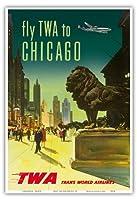 シカゴ - TWA (トランス・ワールド航空) - ビンテージな航空会社のポスター c.1950s - アートポスター - 33cm x 48cm
