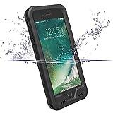 【ZVE】 iphone7 plus ケース 完全防水ケース アイフォン7プラス ケース IP68 耐震 防雪 防塵 耐衝撃カバー 全面保護 スマホケース 指紋認証対応 5.5インチ 本体液晶保護フィルム,ストラップ付き (ブラック)