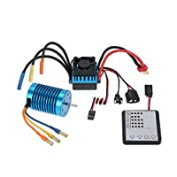 GoolRC 3650 3300KV/4P ブラシレス モーター + 45A ブラシレス ESC スピードコントローラー + LED プログラムカード コンボ セット 1/10 RC ラジコン カー 車用
