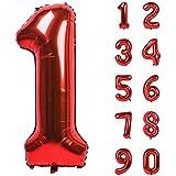 Angel&tribe 番号 0-9 誕生日 パーティー 装飾 ヘリウム 箔 マイラー 大きい 番号 バルーン 40インチ レッド 番号1